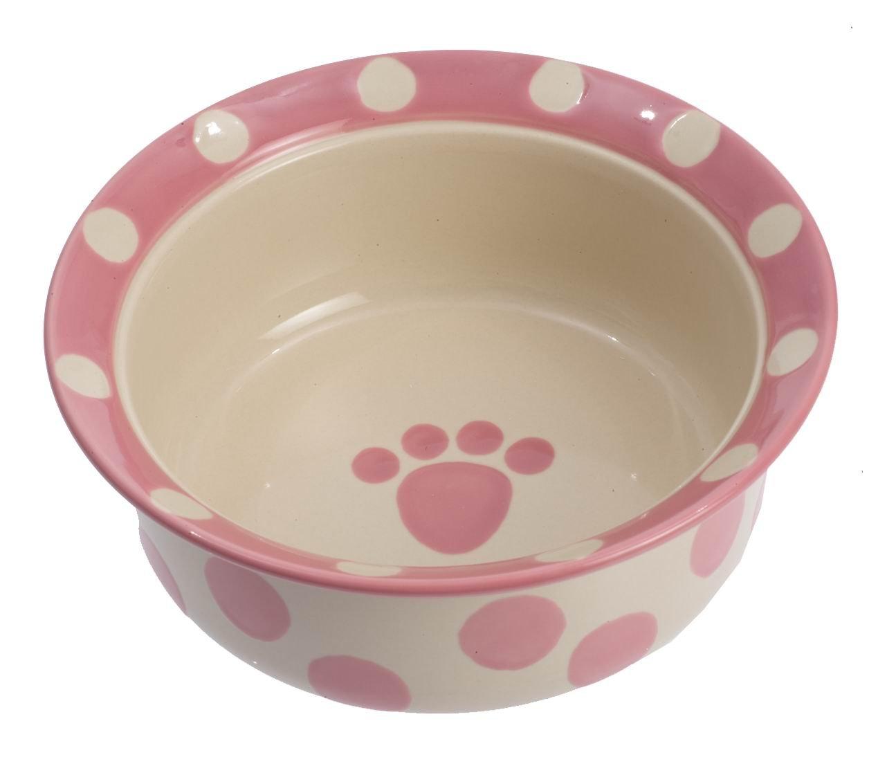 Petrageous Designs Polka Paws 6'' Deep Pet Bowl, Pink