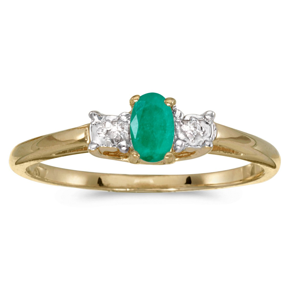 0.16 Carat (ctw) 10k Yellow Gold Oval Green Emerald and Diamond 3 Three Stone Engagement Classic Engagement Promise Ring (5 x 3 MM) - Size 6