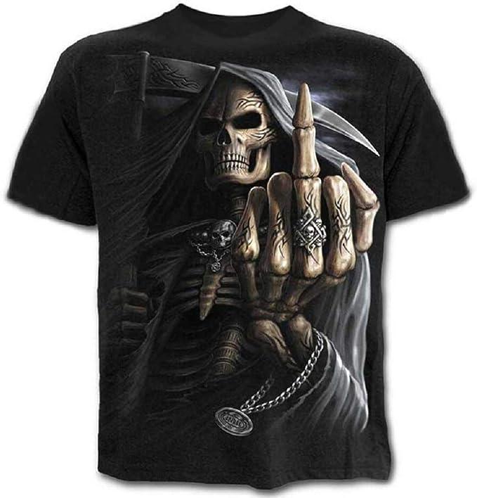Camisa Calavera - Camiseta - Camisa de la Muerte - gótica - 3D - Manga Corta - Hombre - Unisex - Mujer - Divertido - niños - Accesorios - Cosplay - Disfraz - XXXX - Grande - c0y2 Cosplay: Amazon.es: Ropa y accesorios