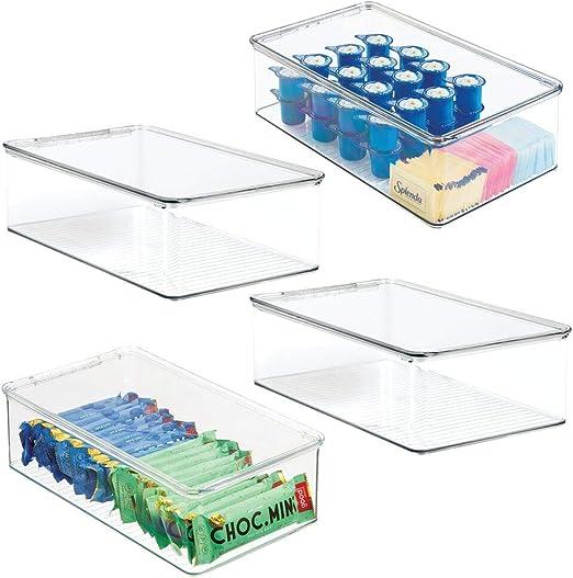 transparente mDesign Juego de 2 cajas apilables Pr/ácticas cajas de pl/ástico con tapa Organizadores de cocina con tapa para nevera y frigor/ífico Contenedores de pl/ástico para alimentos