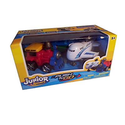 Junior Racers Push n Go Train Engine and Airplane: Toys & Games