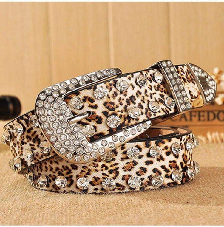 Fancylande Cintura con Stampa Leopardata Taglia Unica Wide 33mm di Larghezza Agreeable Cintura da Donna alla Moda con Strass E Fibbia in Metallo Cintura Casual per Jeans Pantaloni Abiti