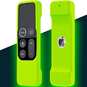 Case Compatible with Apple TV 4K/ 4th Gen Remote Light Weight Anti-Slip Shock Proof Silicone Cover for Controller for Apple TV Siri Remote Glow in The Dark Green