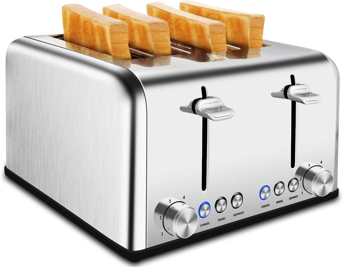4 Slice Toaster - CUSIMAX Extra-Wide Slot Stainless Steel Toaster with Bagel/Defrost/Cancel Function, 6 Shade Settings Bread Toaster with High Lift Lever,Removable Crumb Tray & Cord Storage