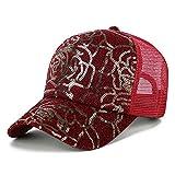 BELZN Summer Womens Baseball Cap Sequins Adjustable Hats (Red)
