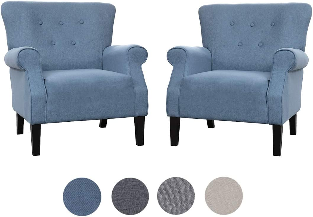 Top Space Accent Chair Sofa Mid Century Upholstered Roy Arm Single Sofa Modern Comfy Furniture for Living Room,Bedroom,Club,Office 2 PCs,Blue