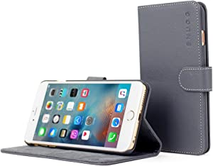 iPhone 6 Plus Case, Snugg - Grey Leather iPhone 6 Plus Flip Case Premium Wallet Phone Cover with Card Slots for Apple iPhone 6 Plus