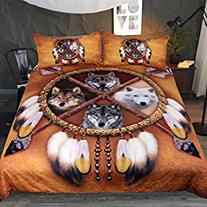 Sleepwish 4 Wolves Dreamcatcher Bedding Native American Golden Brown Indian Duvet Cover Vintage Feather Bedding Cover Set (King)
