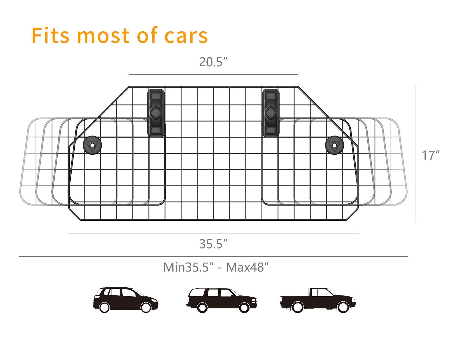 SUKI&SAMI Dog Car Barrier Adjustable Pet Barrier for SUVs,Cars and Vehicles,Heavy Duty Wire Adjustable,Smooth Design,Black by SUKI&SAMI (Image #5)