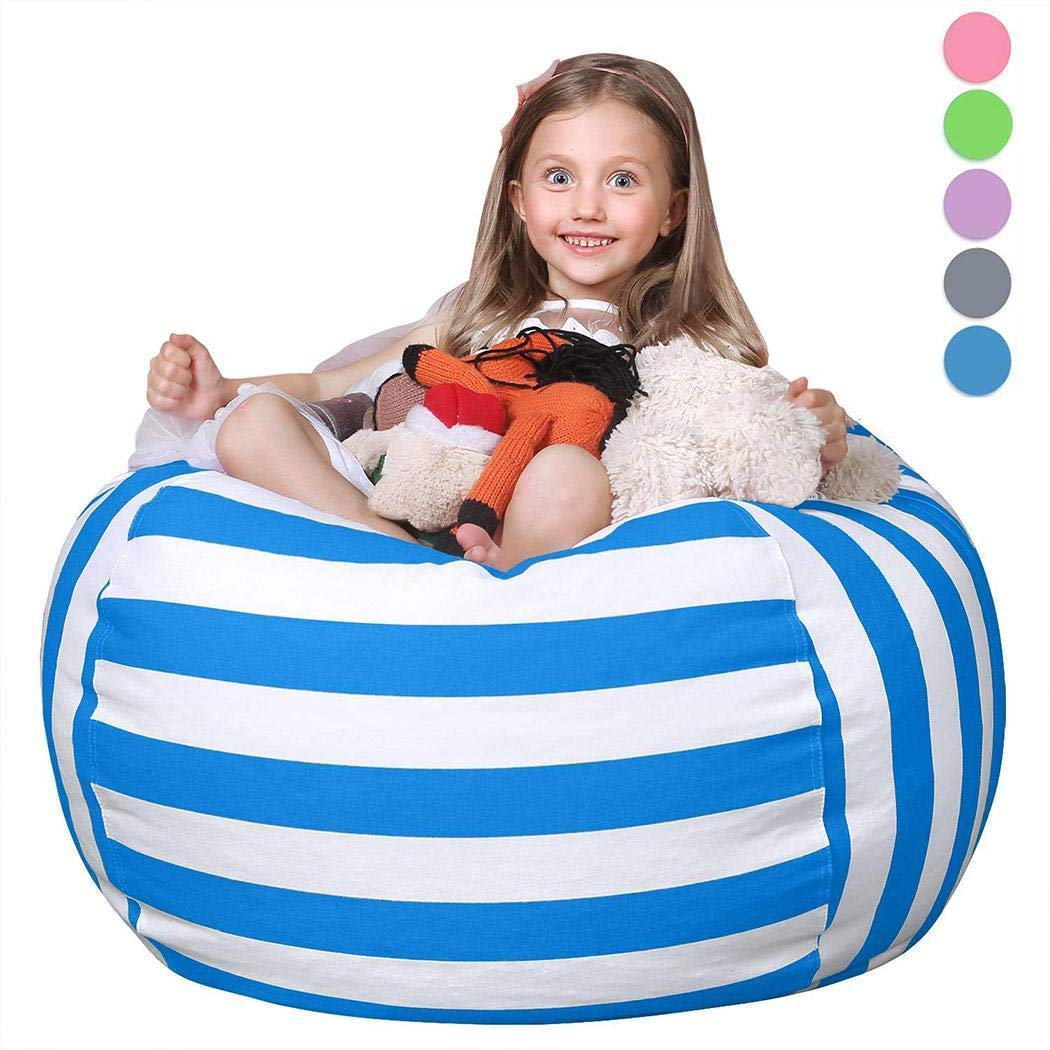 Zhuygba 6 Colors Bean Bag Storage Chair,Multi Purpose Plush Toy Stuffed Animal Toy Storage Bag Containers(1Pcs Blue) by zhuygba