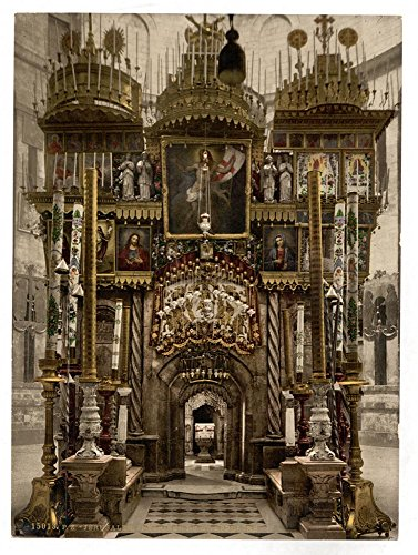 The interior of the Holy Sepulchre, Jerusalem, Holy Land by Historic Photos