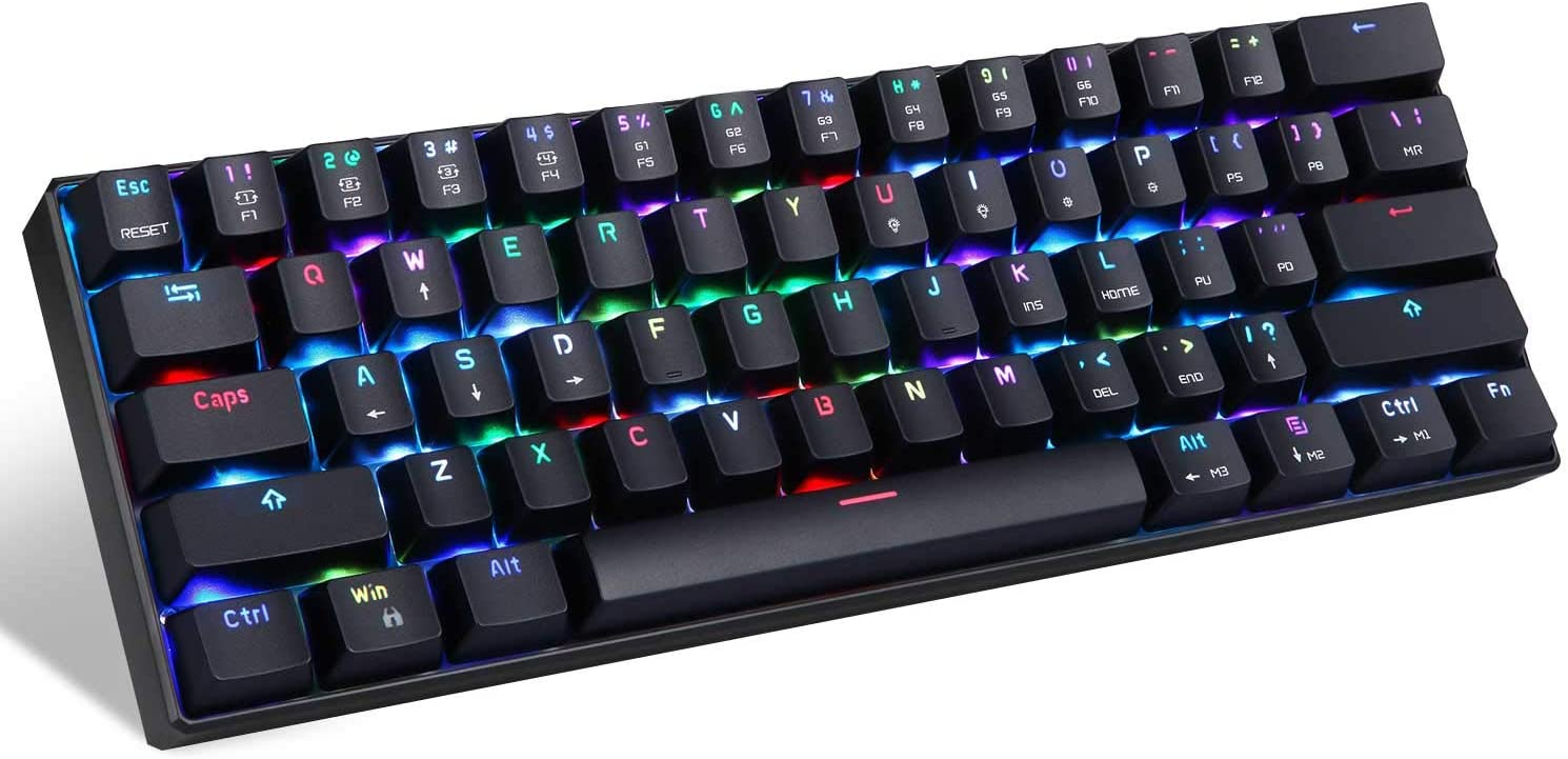 MOTOSPEED CK61 60% Mechanical Keyboard Portable 61 Keys RGB LED Backlit Type-C USB Wired Office/Gaming Keyboard for Mac, Android, Windows(Blue Switch)