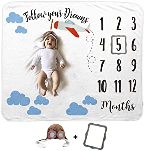 Baby Airplane Monthly Milestone Blanket   Includes Aviator Cap and Picture Frame   1 to 12 Months   Premium Extra Soft Fleece   Best Photography Backdrop Photo Prop for Newborn