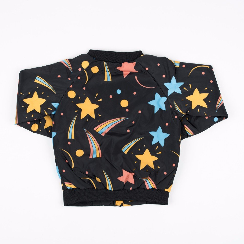 LJYH Autumn Black Bomber Jacket with Space Starry Coat Star Print Jackets