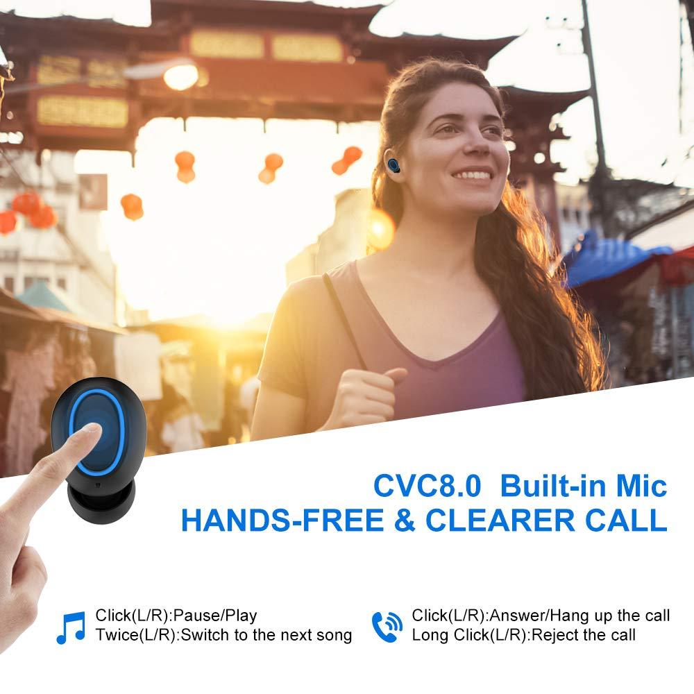 Ifecco Auricolari Wireless Cuffie,TWS Auricolari Wireless Bluetooth Senza Fili V5.0 Auricolari Bluetooth CVC 6.0 Cuffie Wireless in Ear con Scatola Ricarica 1500mAh per iPhone Samsung Huawei Sony Nero