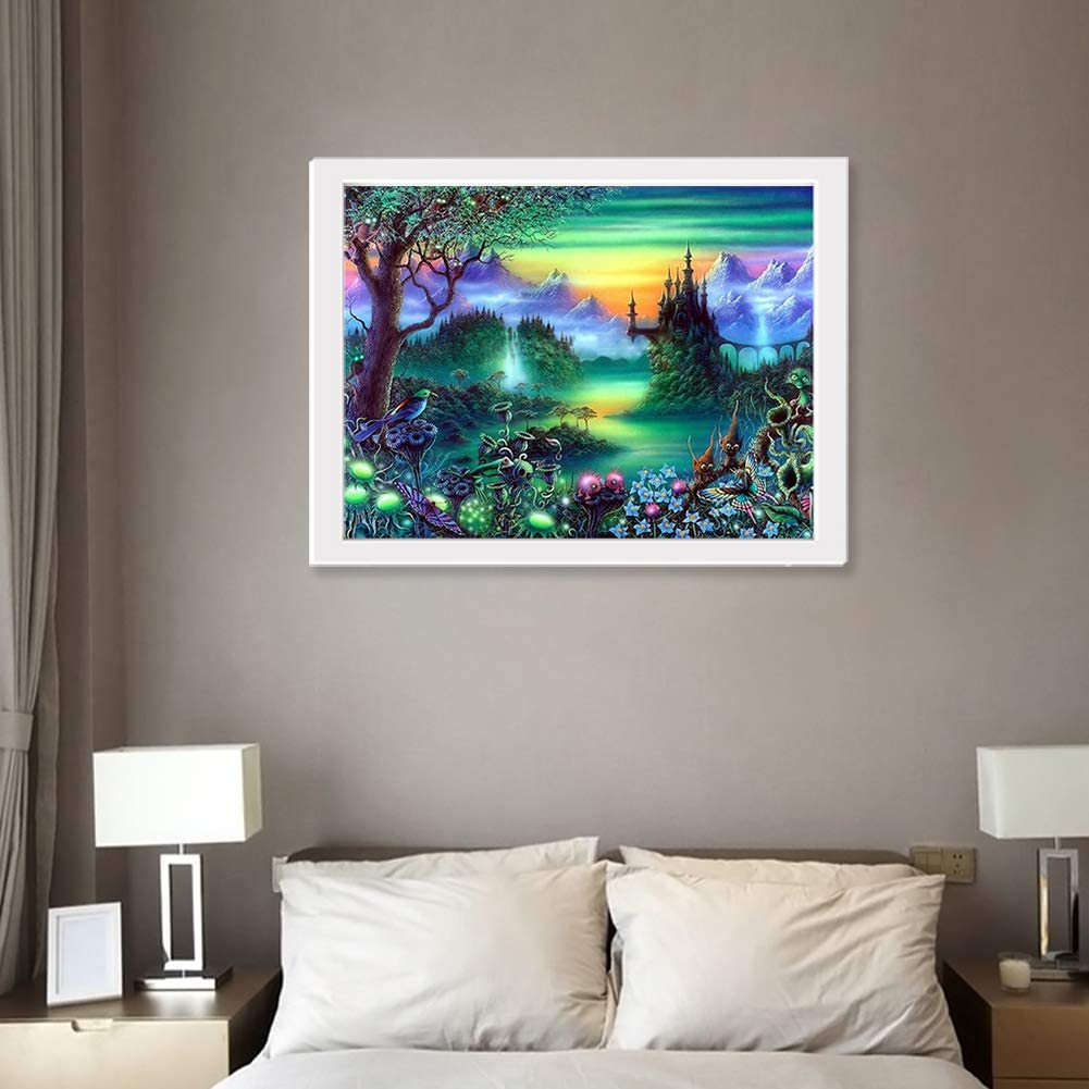 5D Diamond Painting Kit 15.711.8in//13.813.8in Painting Cross Stitch Full Drill Arts Craft Supply for Home Office Decor Lake