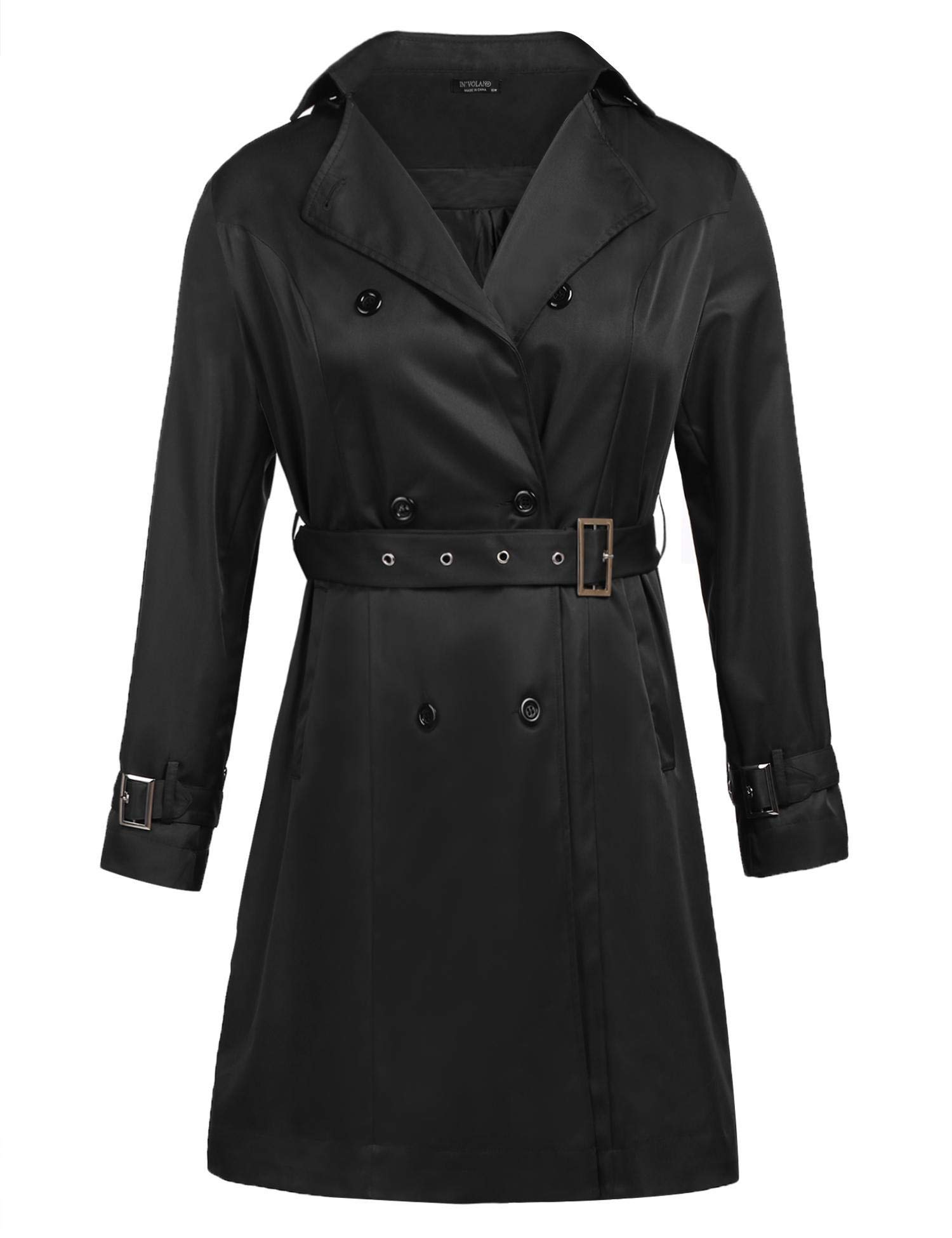 IN'VOLAND Women's Plus Size Trench Coat Double-Breasted Long Hooded Overcoat with Belt
