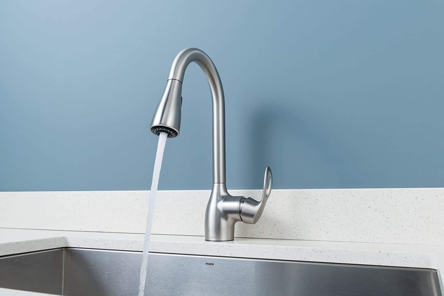Moen CA87011SRS Single Handle Kitchen Faucet with Pullout Spray from the  Kleo Collection, Spot Resist Stainless