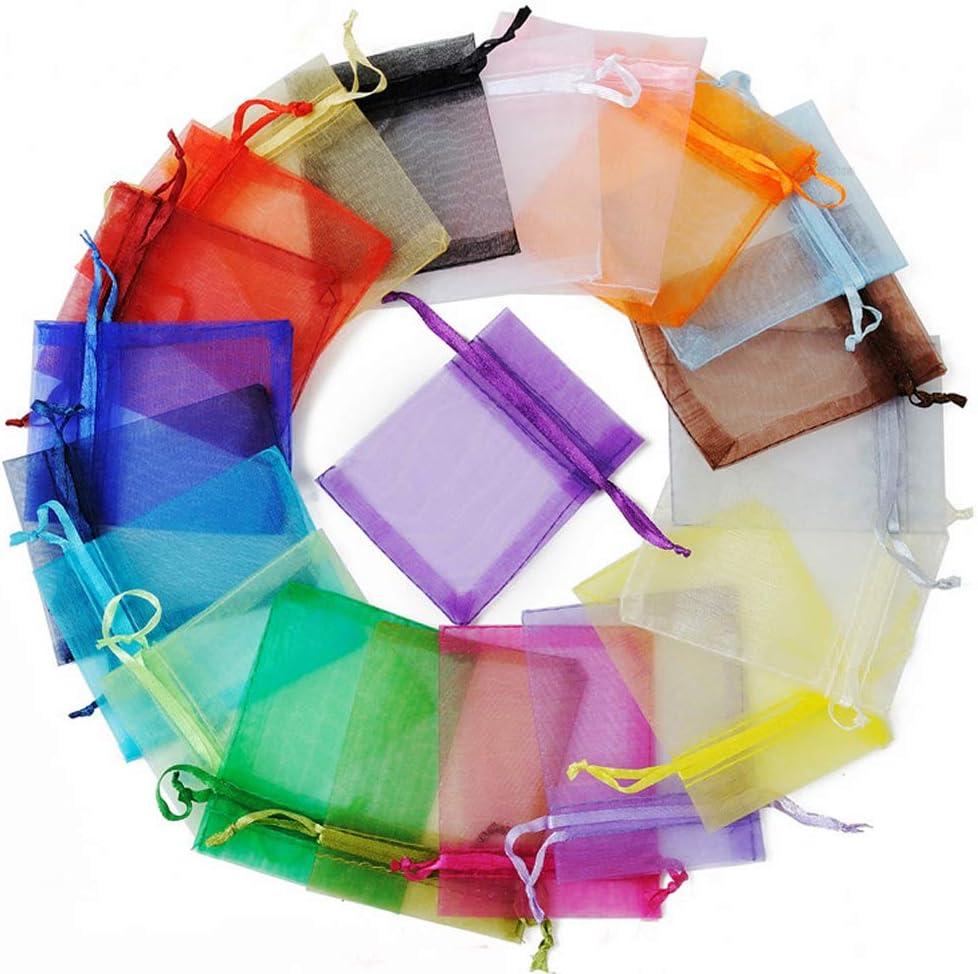 Lawei 100 bolsas de organza de 5 x 7 pulgadas, 20 bolsas de organza de colores mezclados, bolsa de regalo con cordón caramelos joyas fiestas bodas regalo, para fiestas bodas Navidad San Valentín