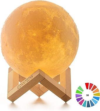 Lámpara Luna 3D, ICONNTECHS Brillo Regulable 16 Colores RGB ...