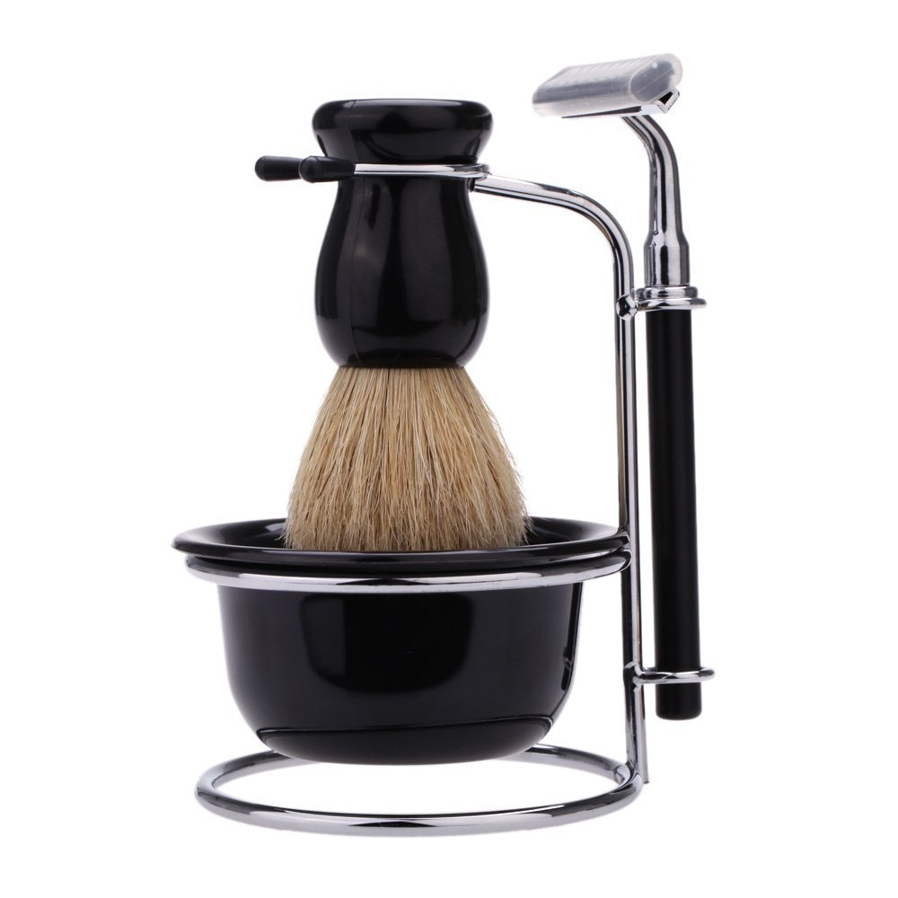 Anself 4-in-1 Men's Manual Razor Set Stainess Steel Stand Holder 5 Blades Wet Shaving Beard Razor Shaving Brush Bowl