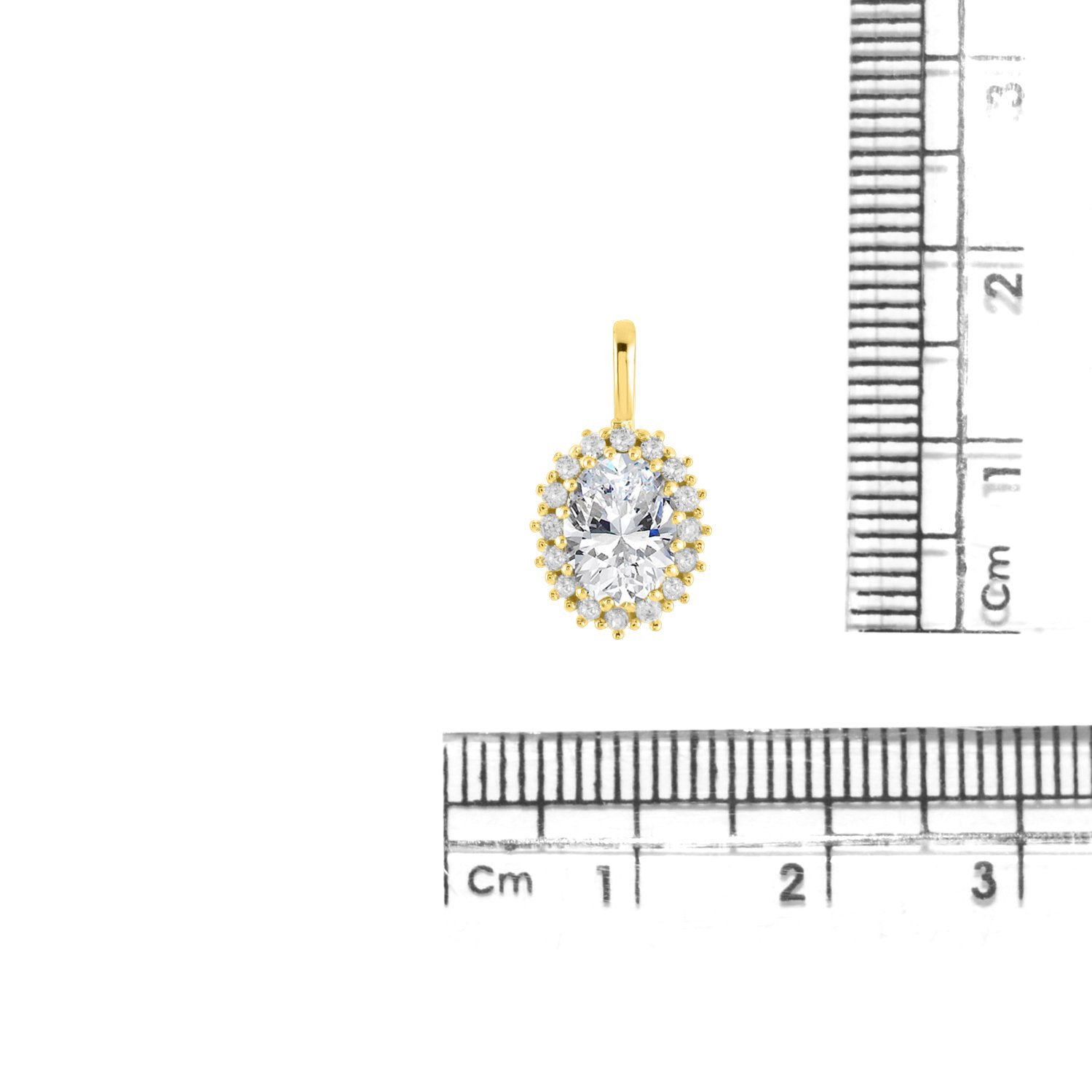 DiscountHouse4you 0.24 Ct White Cubic Zirconia Oval Frame Halo Pendant Necklace in 14k White Gold Over