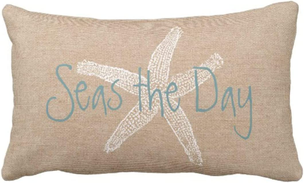 Britimes Throw Pillow Cover Seas Vintage Starfish On Canvas Look Decorative Pillow Case Whimsical Home Decor Rectangle Queen Size 20x30 Inch Cushion Pillowcase