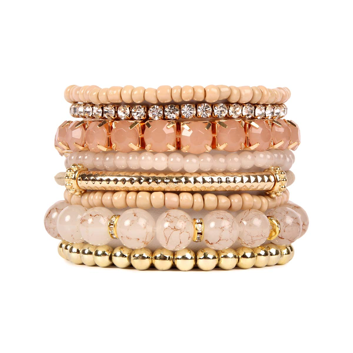 RIAH FASHION Multi Color Stretch Beaded Stackable Bracelets - Layering Bead Strand Statement Bangles HDB1286GR