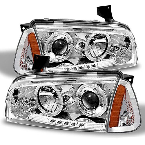 Charger Dodge Halo Headlights - For 06-10 Dodge Charger All Model Chrome Dual Halo Projector LED Headlights + Chrome Corner Signal Lamps
