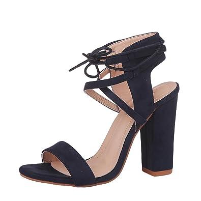 S&H NEEDRA Damen Sandalen Block High Heel Sandaletten Plattform Verband Schuhe Schnalle High Heels