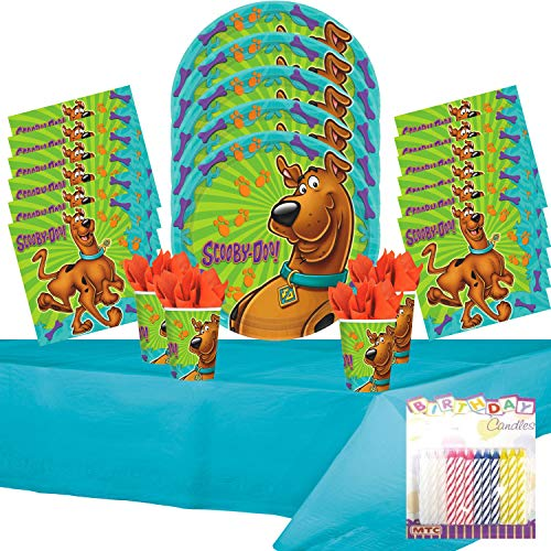 Scooby-Doo Party Supplies Pack Serves 16: Plates Napkins Cups and Table Cover with Birthday Candles (Bundle for 16)]()