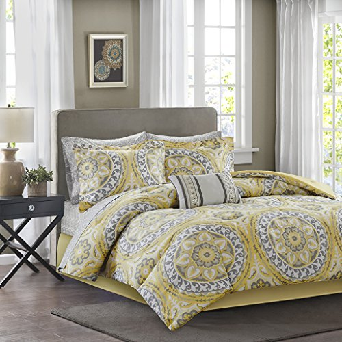 Madison Park Essentials Serenity Full Size Bed Comforter Set Bed In A Bag - Yellow, Medallion – 9 Pieces Bedding Sets – Ultra Soft Microfiber Bedroom Comforters