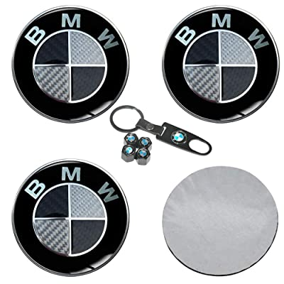 Taoku Wheel Center Hub Caps Stickers fit B M W, 4PCS Black Wheel Center Hub Covers with Car Tire Valve Caps Set for Vehicles Accessories: Automotive