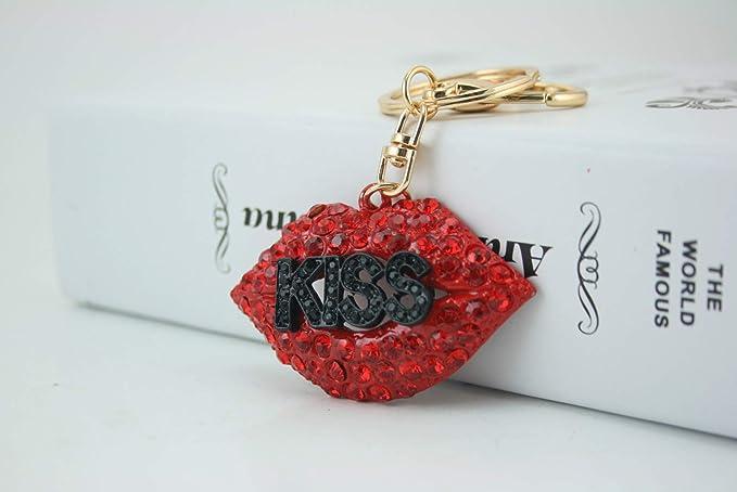 Kiss Hot Lips - Llavero con colgante de cristal brillante ...
