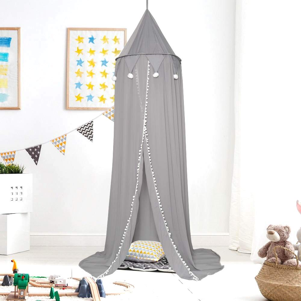 JERORAY-Kids Bed Canopy for Girls Boys Playroom– Premium Chiffon Crib Canopy for Nersery – 92-Inch Bed Tent Canopy for Kids – Stable Design – Easy DIY Installation,Grey