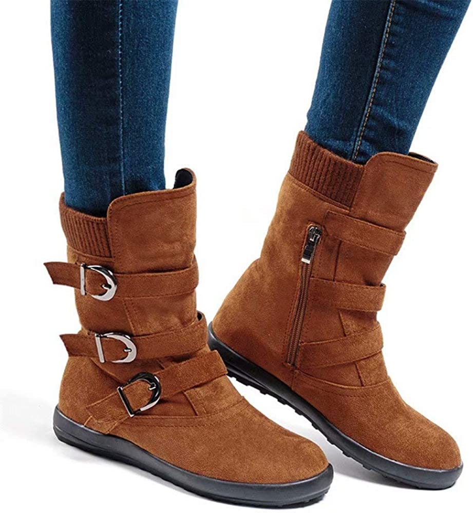 Women Boots with High Chunky Heel with Fur Suede Platform Ankle Booties Lace Up Zip 8 cm Buckle Winter Warm Comfortable Outdoor Black Khaki Green Red 2-7