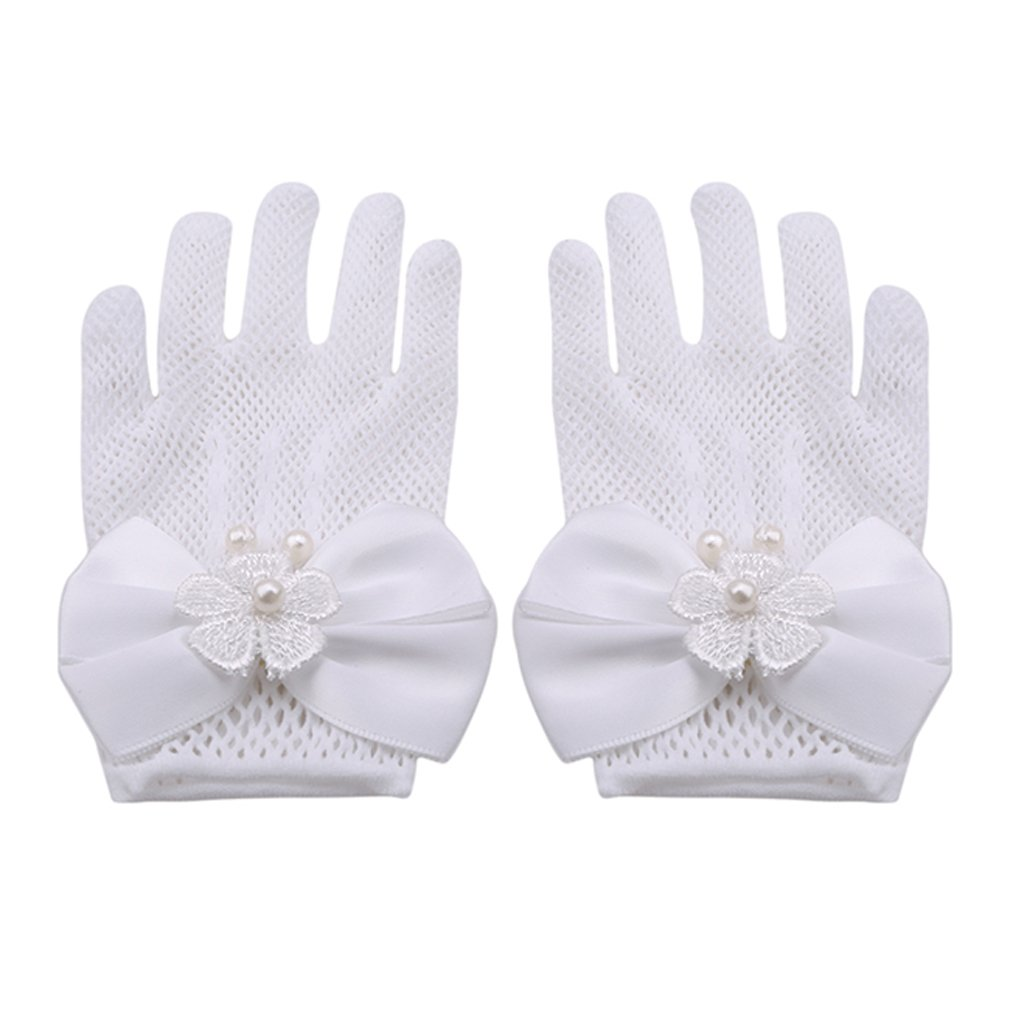 SOURBAN Girls Bowknot Gloves Wrist Length Ivory Lace Net Voile Short Princess Gloves for Wedding