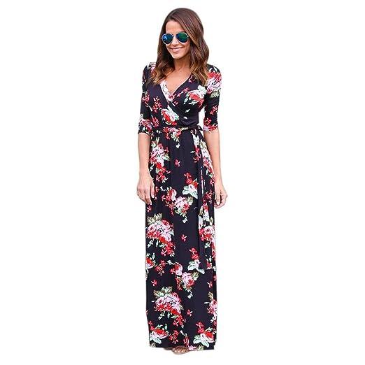 b9b3d58c9334c Leewos 2018 New! Floral Dress, Summer Sundress Women Sexy V-Neck Long  Sleeve Bandage Tie Long Dress at Amazon Women's Clothing store: