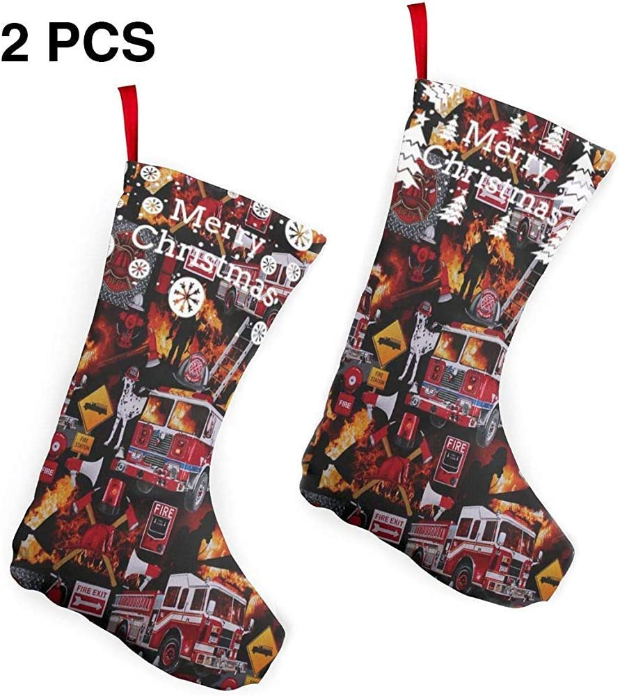 pinhanzhuangshi Weihnachtsschmuck Santa,Qualit/ät Feuerwehr Ausr/üstung 2 St/ück Set 26CM Weihnachtsstr/ümpfe Kamin H/ängende Str/ümpfe Dekor Str/ümpfe F/ür Weihnachten Urlaub
