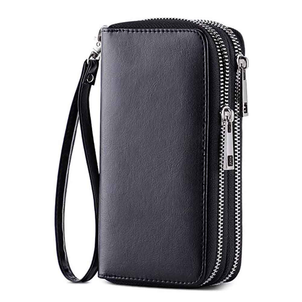 HAWEE Cellphone Wallet Dual Zipper Wristlet Purse with Credit Card Case/Coin Pouch/Smart Phone Pocket Soft Leather for Women or Lady, Black-Shiny
