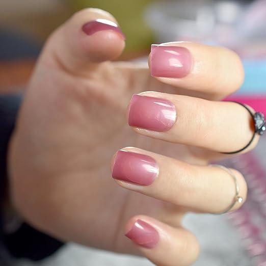 EchiQ 6 juegos de uñas postizas redondas de color caramelo, cuadradas, color rosa claro, azul nude, naranja, rojo, loro púrpura, uñas cortas artificiales ...