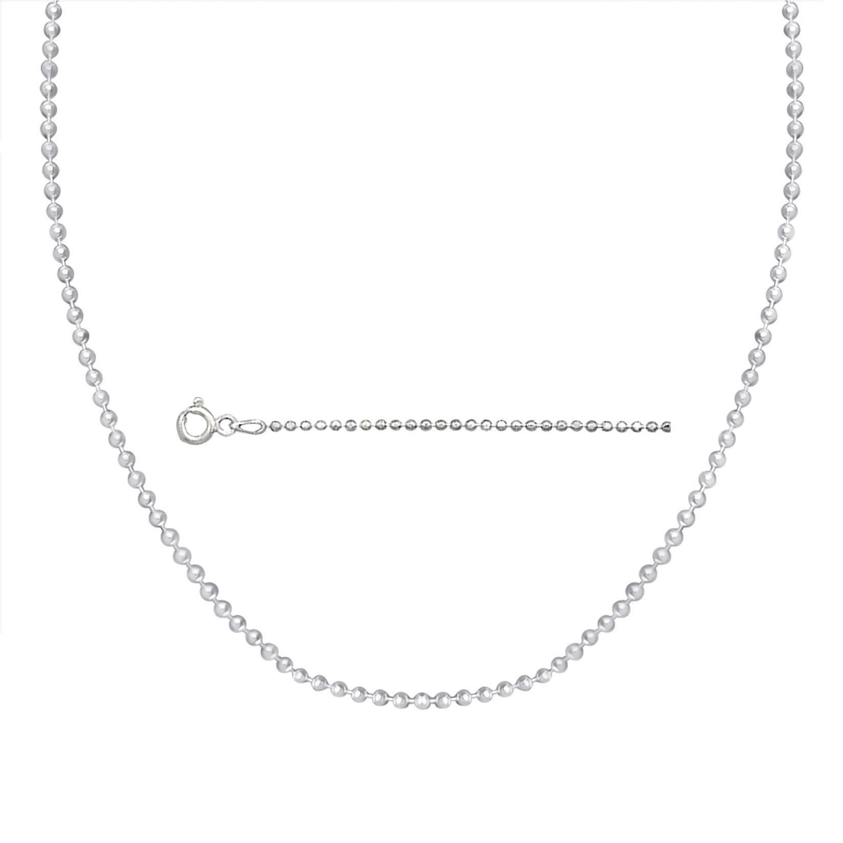 Sterling Silver Ball Bead Necklace Made In Italy 1.2mm Pallini 36 inch Dog Tag Chain