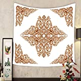 Grace Little Custom tapestry pattern of flower carved on wood for decoration isolated on white background
