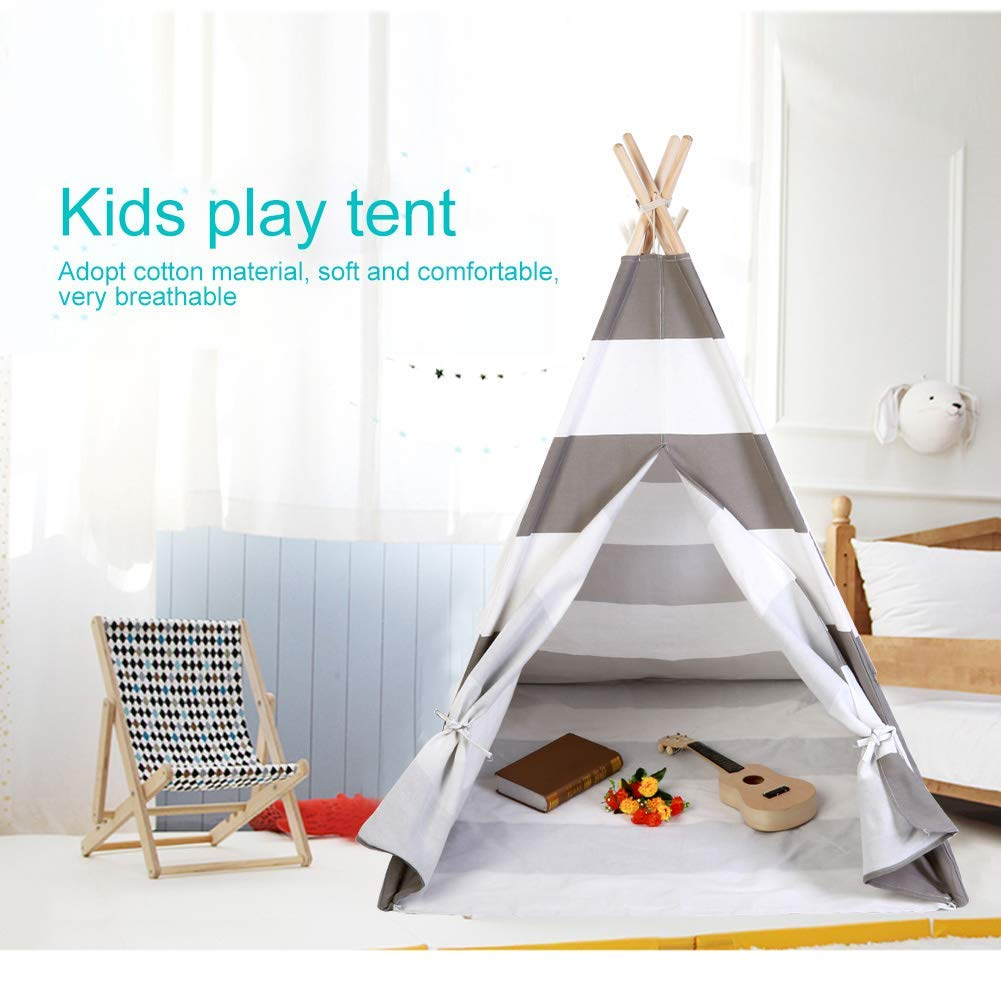 Ejoyous Tente de Tipi pour Enfants en Tissu de Coton et Pine Portable Tipi denfants avec Fen/être Lat/érale pour Gar/çons et Filles Int/érieur Ext/érieur Blanc Gris 120 x 120 x 145 cm