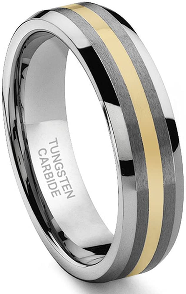 6mm Domed Tungsten Carbide Wedding Band with Two Satin Lines US Whole /& Half Sizes 4-13