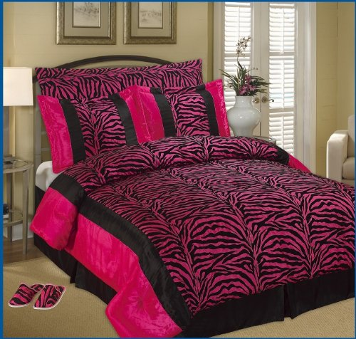 Amazon.com: 7pc Full / Queen Faux Silk and Flocking Printing Black ...