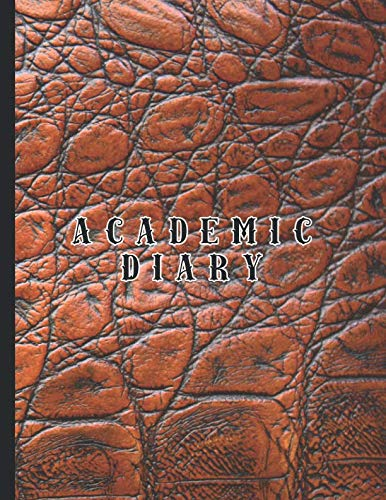 Academic diary: Large page per day academic organizer planner for all your educational organisation - Brown mock croc effect cover design