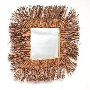 Espejo con marco de madera de pared natural marrón único cuadrado 60 cm