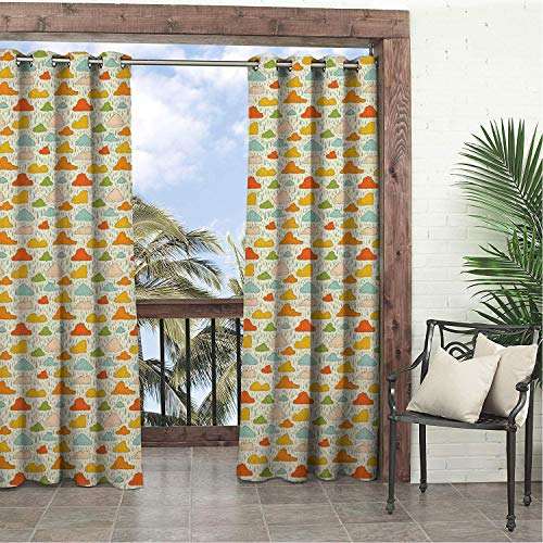 Balcony Waterproof Curtains Clouds Pattern Retro Colored Fluffy Clouds and Rain Wet Weather Theme Autumn Season Multicolor pergola Grommets Decor Curtain 108 by 96 inch