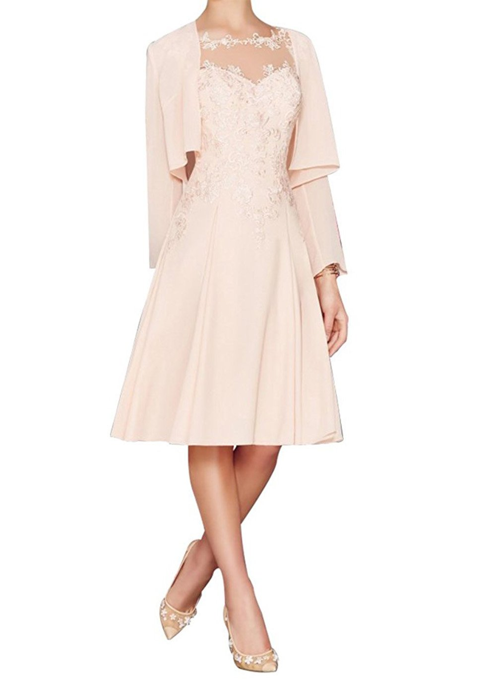 2013bab7a5d Home Brands Fitty Lell Fitty Lell Women s Chiffon Mother of The Bride Dress  Tea Length with Jacket Formal Wedding Gowns (US16